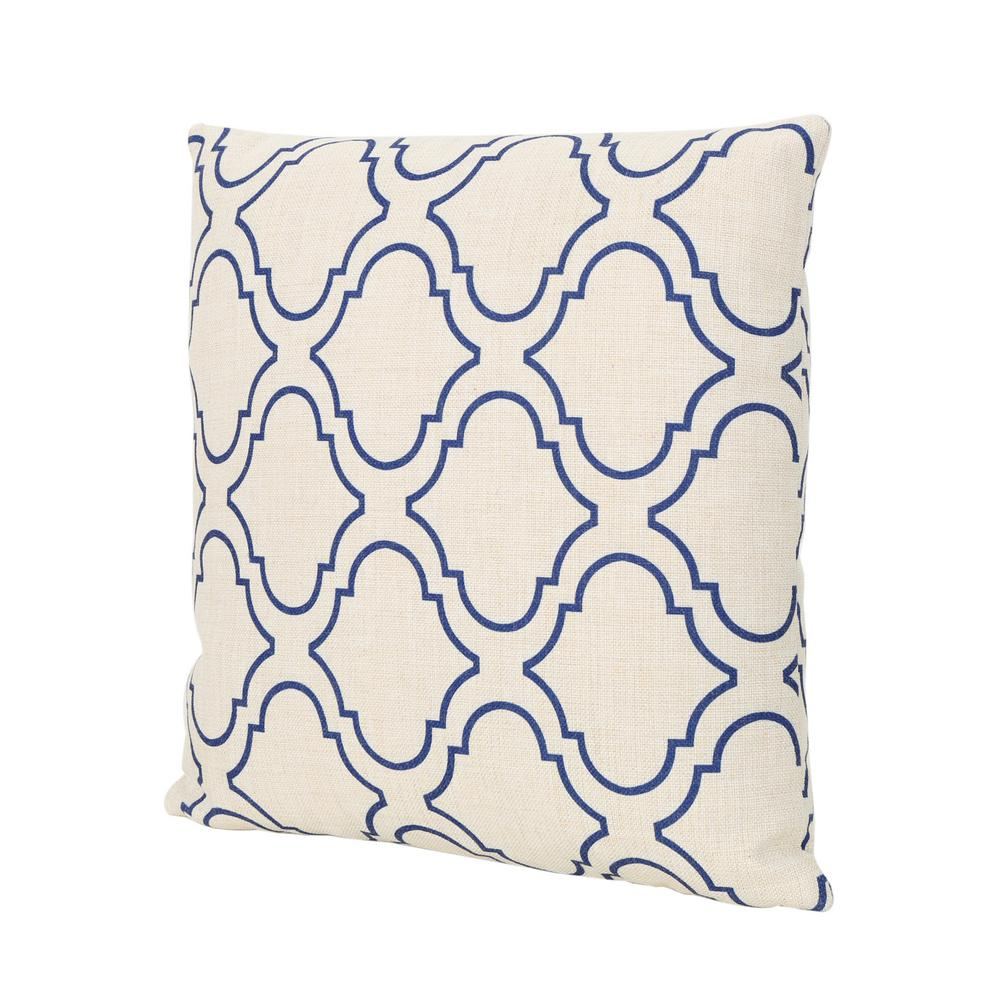 Noble House Moher Beige and Blue Square Outdoor Throw Pillow