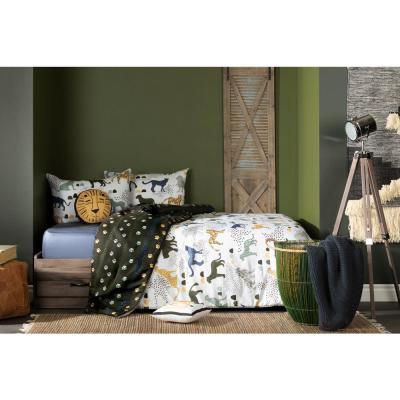 DreamIt 3-Piece Safari Wild Cats White and Green Full Comforter and Pillowcase Set