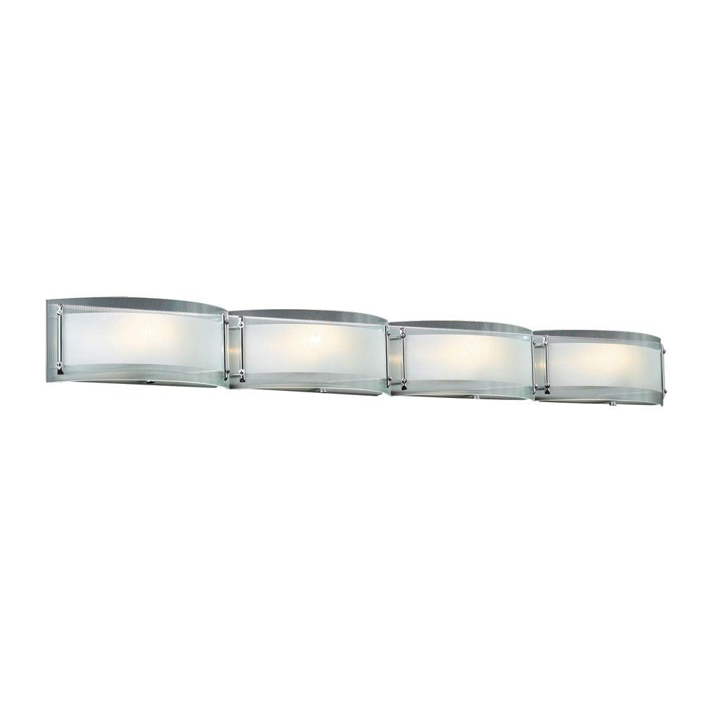 PLC Lighting 4-Light Polished Chrome Bath Vanity Light with Ribbed Clear Glass