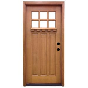 Steves Sons 32 In X 80 In Craftsman 6 Lite Stained Mahogany Wood Prehung Front Door M3306 2
