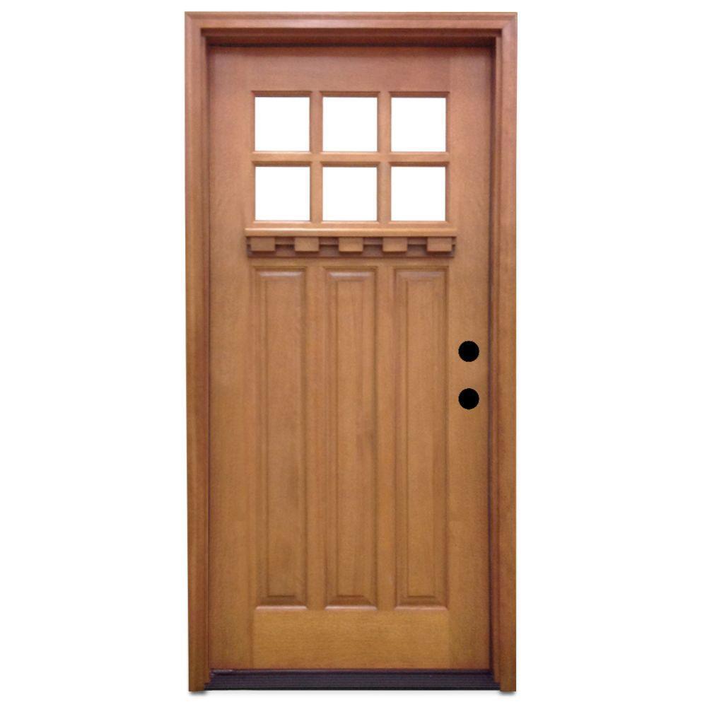 entry doors home depot. Craftsman 6 Lite Stained Mahogany Wood Prehung Front Door 32 x 80  Doors Exterior The Home Depot