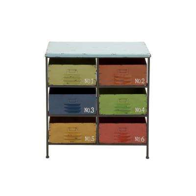 6-Drawer Multi-Colored Iron Chest