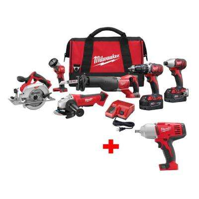 M18 18-Volt Lithium-Ion Cordless 6-Tool Combo Kit W/ Free M18 1/2 in. Impact Wrench