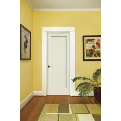 30 in. x 80 in. Madison White Painted Right-Hand Smooth Solid Core Molded Composite MDF Single Prehung Interior Door