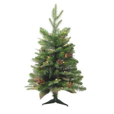 30 in. Pre-Lit Mixed Winter Pine Artificial Christmas Tree with Clear Lights