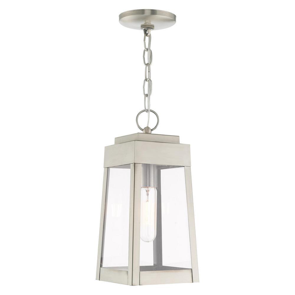 Oslo Small 1-Light Brushed Nickel Outdoor Pendant Lantern