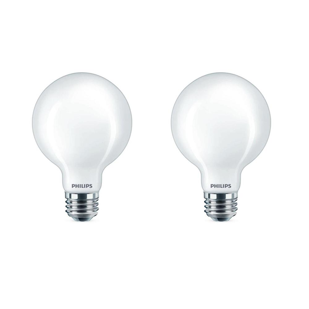 Philips 40 watt equivalent g25 dimmable led globe daylight frosted 2 pack