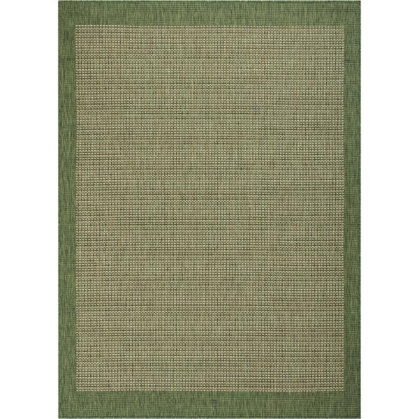 Medusa Odin Green Solid and Striped Border 5 ft. 3 in. x 7 ft. 3 in. Indoor/Outdoor Area Rug