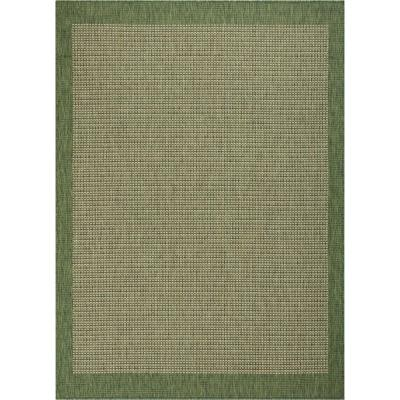 Medusa Odin Green Solid and Striped Border 7 ft. 10 in. x 9 ft. 10 in. Indoor/Outdoor Area Rug