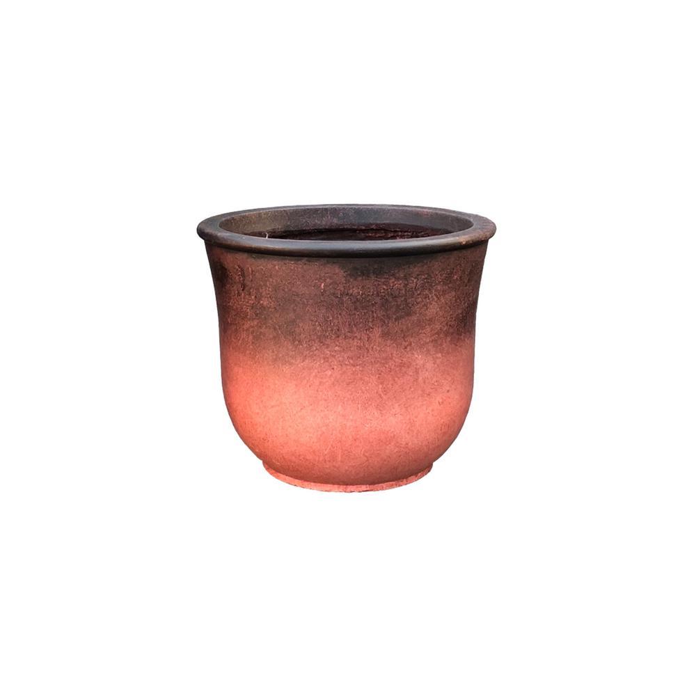 11.81 in. x 9.84 in. H RedLightweight Concrete Vibrant Ombre Tulip Small Planter
