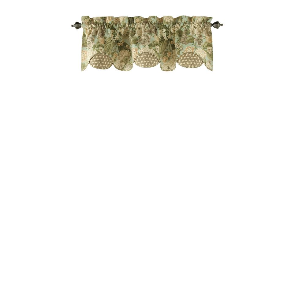 Garden Glory Cotton Scalloped Floral Window Valance in Mist - 60