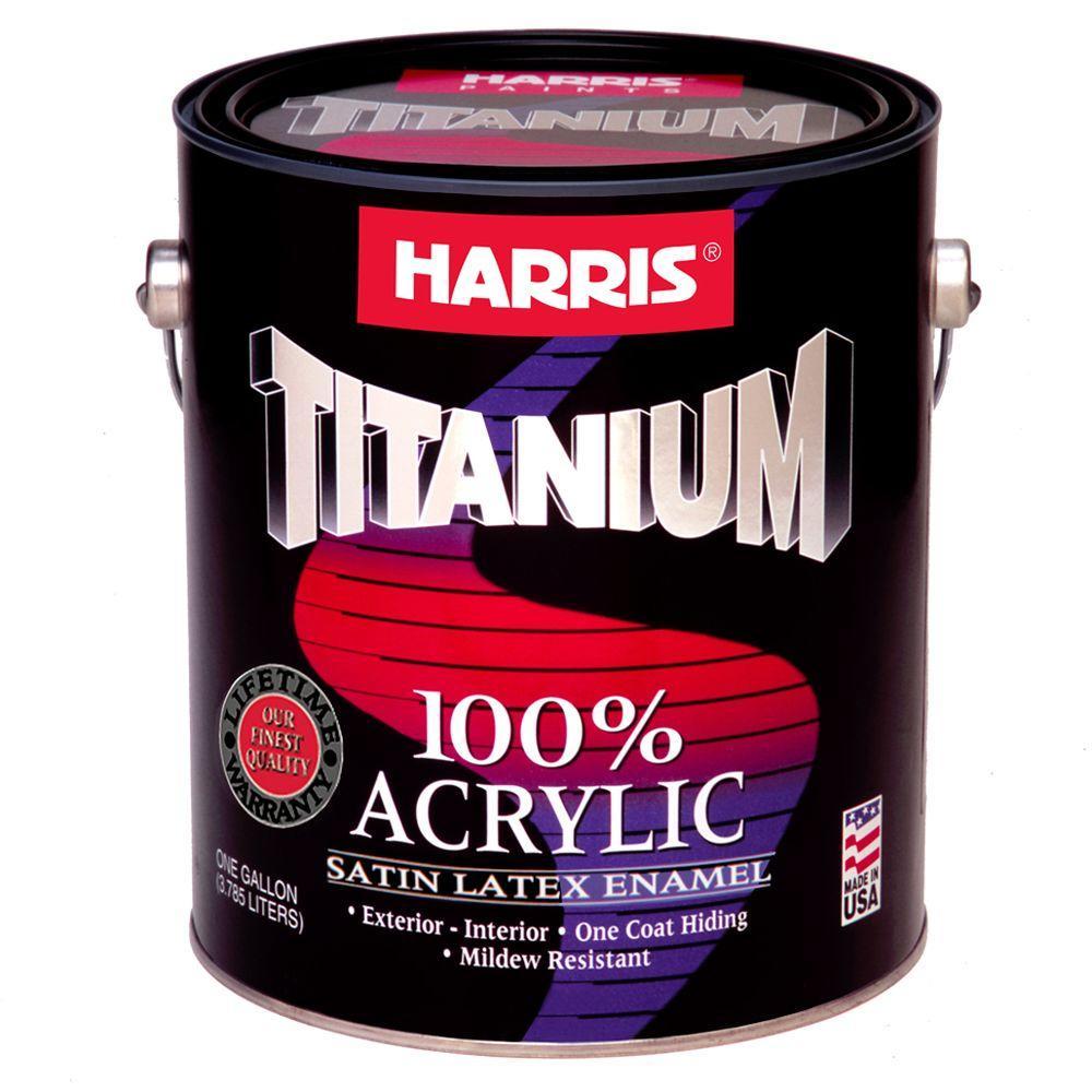 Harris Titanium 1 Gal Satin Acrylic Latex White Interior Exterior Enamel 20801 The Home Depot