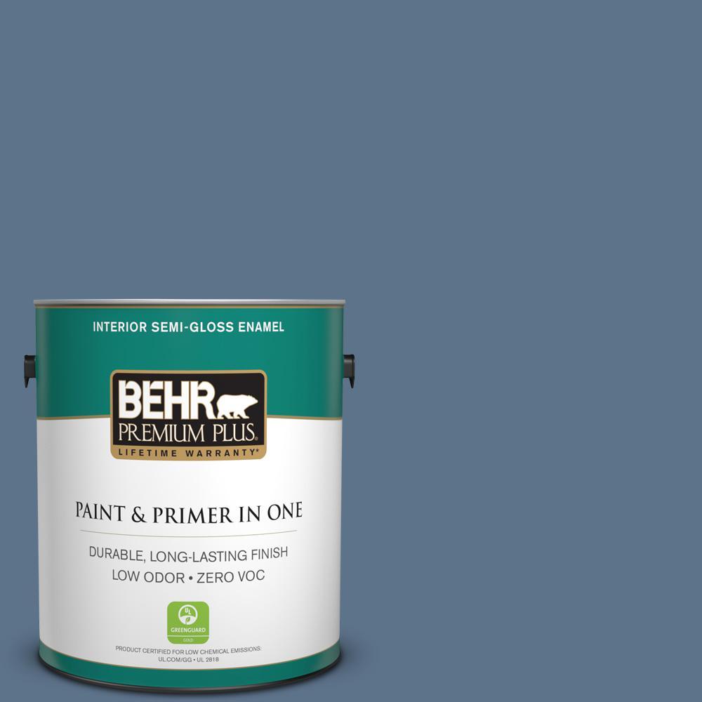 1-gal. #BXC-75 Saltbox Blue Semi-Gloss Enamel Interior Paint