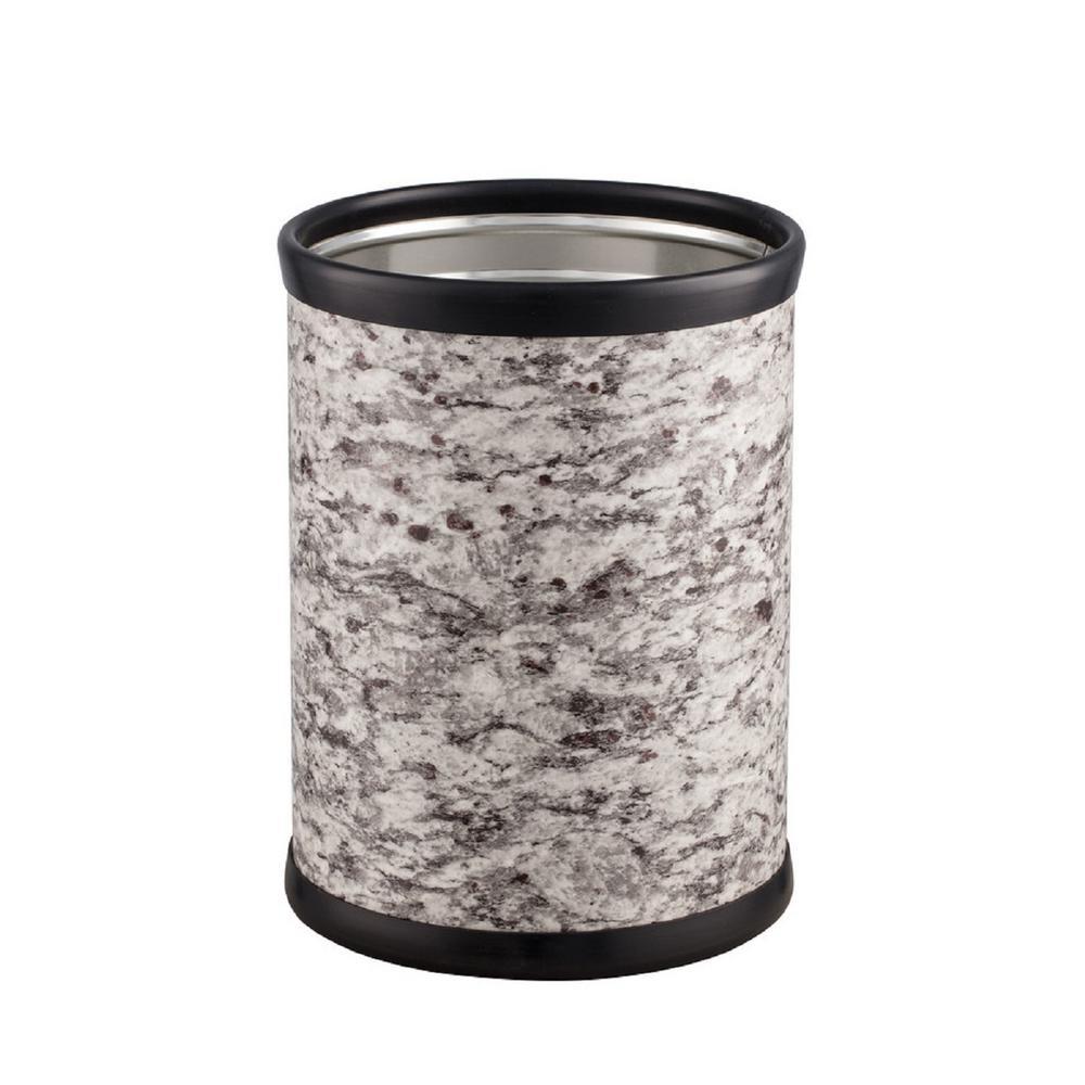 Kraftware Quarry 8 Qt. Amarillo Silver Stone Round Waste Basket 55448