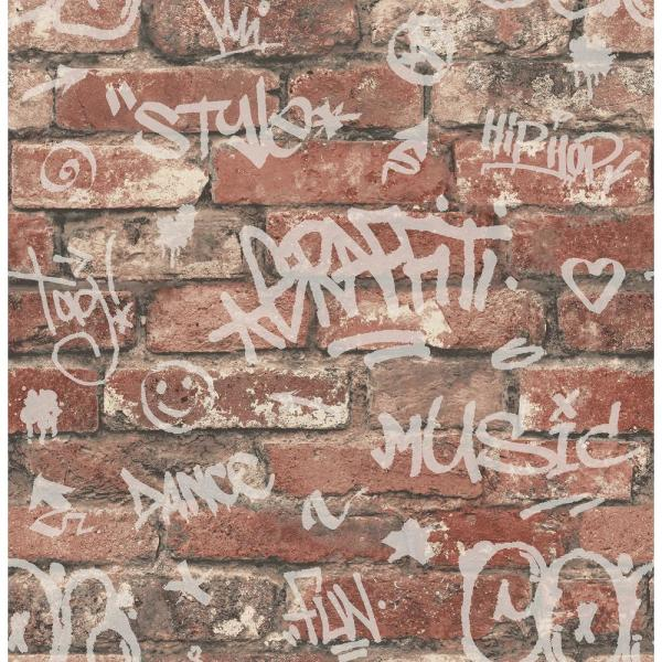 Brewster 56.4 sq. ft. Rodney Red Tagged Brick Wallpaper