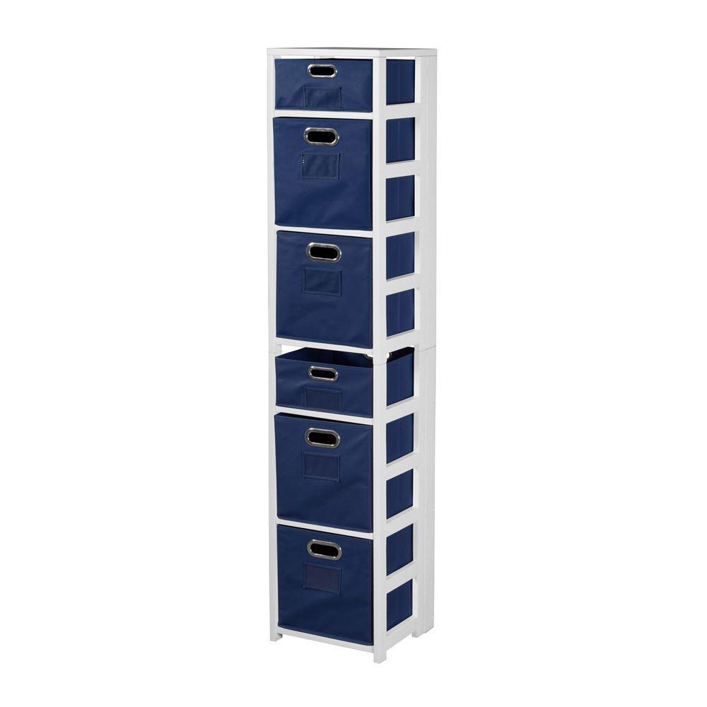Nemus White and Blue 6-Shelf Folding Bookcase and Storage Tote Set