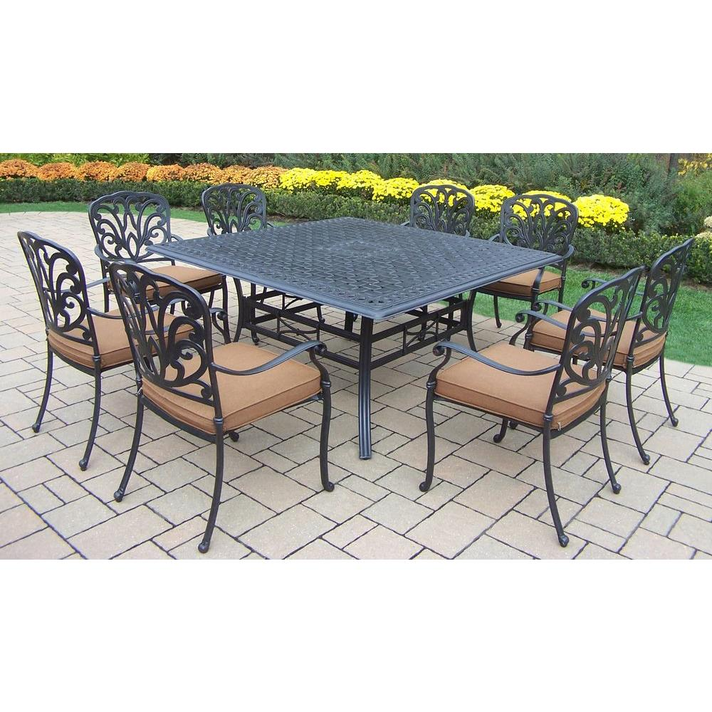 Oakland Living Hampton 9-Piece Patio Square Dining Set with Sunbrella Cushions