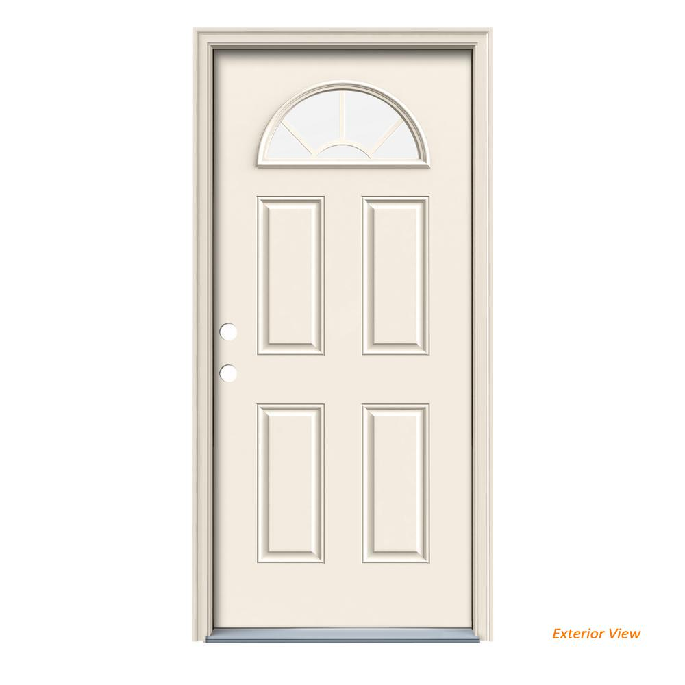 JELD-WEN 36 in. x 80 in. Fan Lite Primed Steel Prehung Right-Hand Inswing Front Door w/ Brickmould