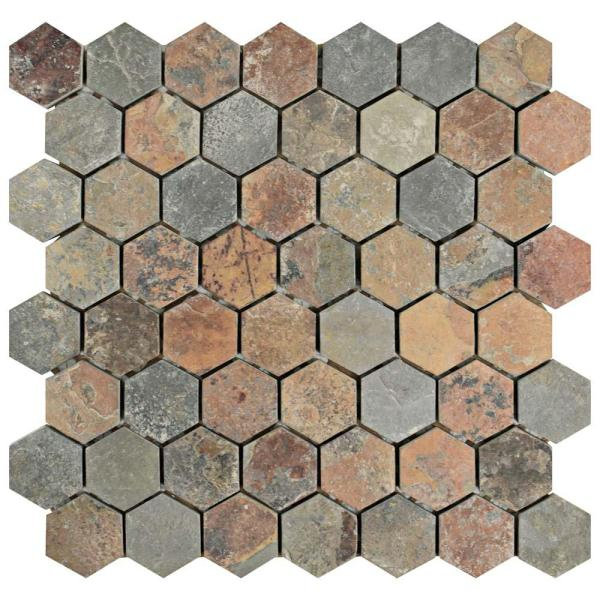 Crag Hexagon Sunset 11-1/8 in. x 11-1/8 in. x 10 mm Slate Mosaic Tile