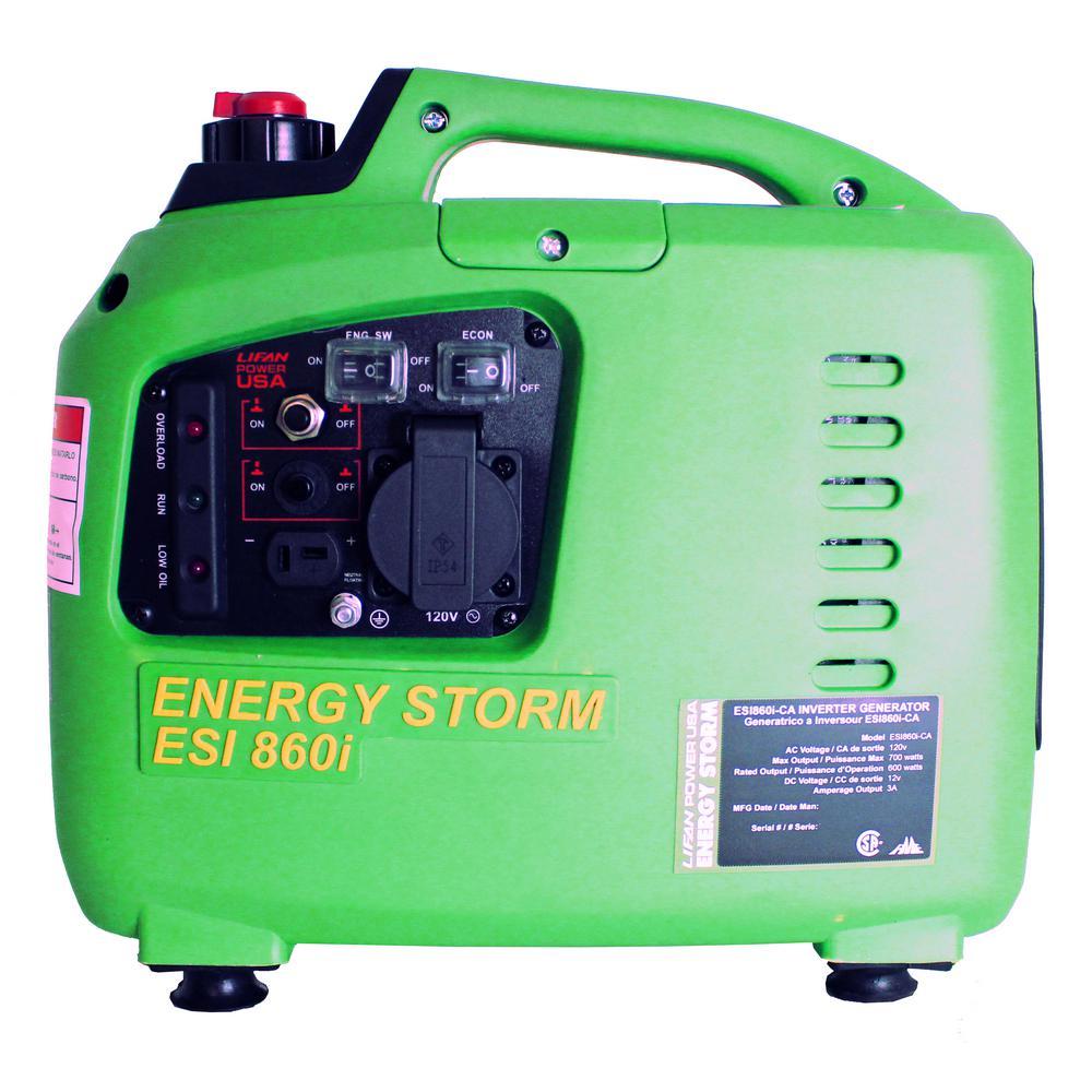 Lifan Energy Storm ESI 860i-CA Digital Inverter Generator, 40cc OHV 4-Stroke - Recoil Start with TDI Ignition, 700 watt Surge Power - 600 Watt Continuous