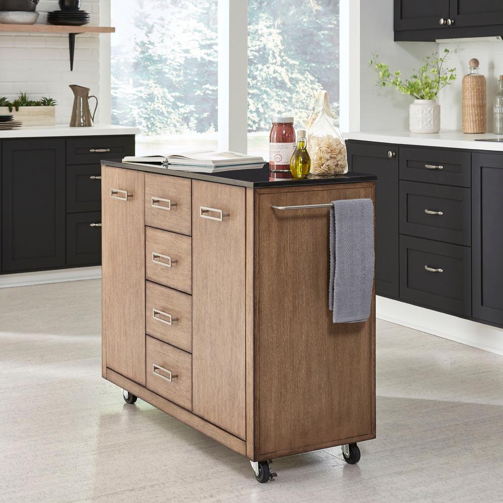 Big Sir Brown Oak Kitchen Cart with Black Granite Top