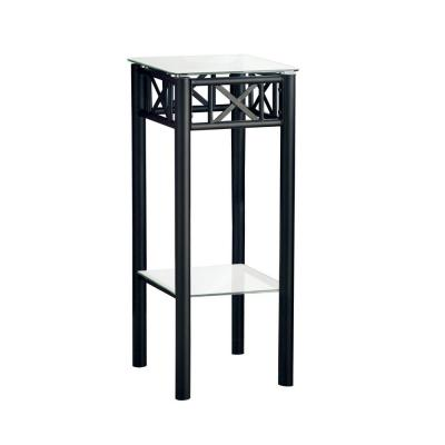 Jasmine 28 in. Black/ Clear Glass End Table
