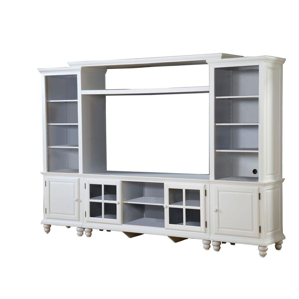 Hillsdale Furniture Grand Bay White Small Entertainment Center Wall Unit-DISCONTINUED