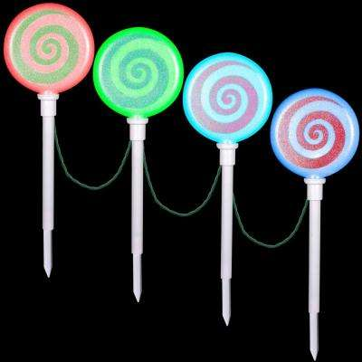 Color Changing Pathway Peppermint Stakes (Set of 4) - LightShow - Christmas Path Lights & Yard Stakes - Outdoor Christmas