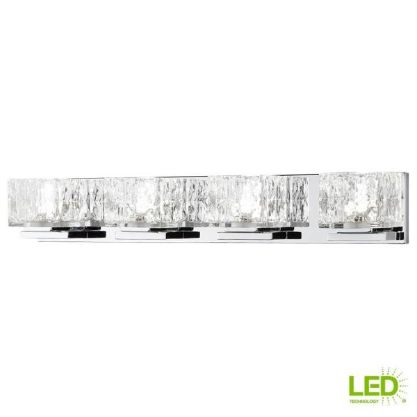 Home Decorators Collection Tulianne 75 Watt Equivalent 4 Light Chrome Led Vanity Light With Clear Cube Glass 22844 The Home Depot