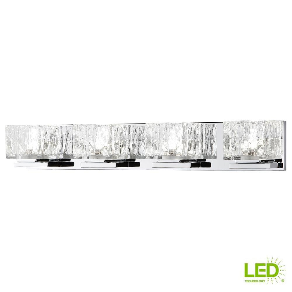 75-Watt Equivalent 4-Light Chrome Integrated LED Vanity Light with Clear Cube