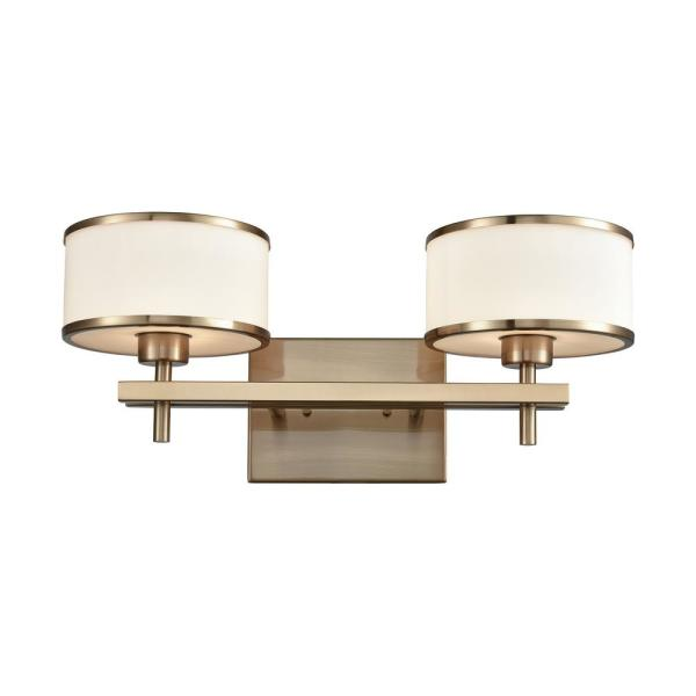 Utica 2-Light Satin Brass with Opal White Glass Bath Light