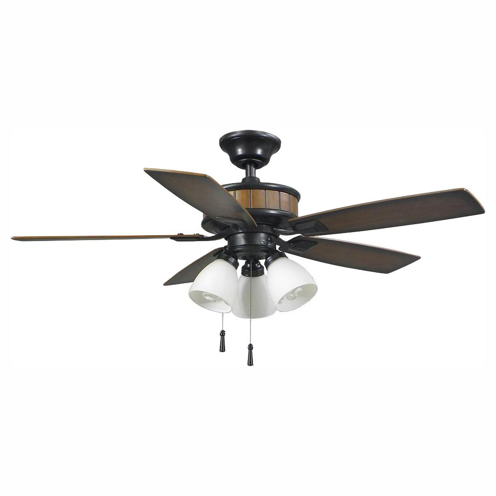 Hampton Bay Riverwalk 42 in. LED Indoor/Outdoor Natural Iron Ceiling Fan with Light Kit