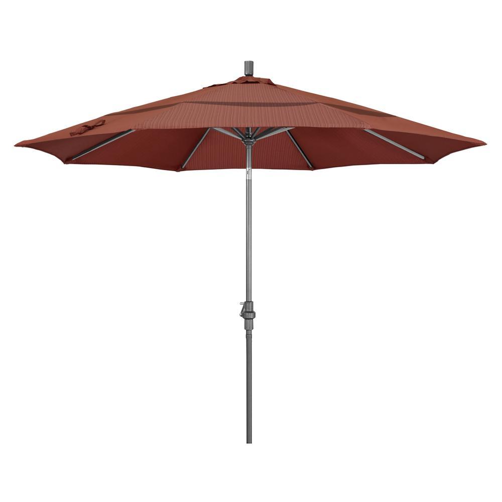 11 ft. Hammertone Grey Aluminum Market Patio Umbrella with Crank Lift in Terrace Adobe Olefin