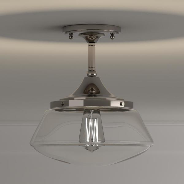 Home Decorators Collection Mcclelland 10 In 1 Light Polished Nickel Vintage Schoolhouse Semi Flush Mount With Clear Glass Shade 24425fm 32 The Home Depot