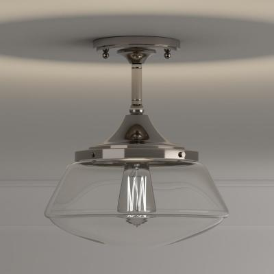 10 in. 1-Light Polished Nickel Vintage Schoolhouse Semi-Flush Mount with Clear Glass Shade