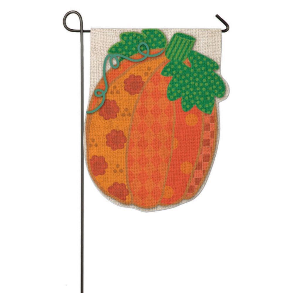 1 ft. x 1-1/2 ft. Burlap Patchwork Pumpkin 2-Sided Garden Flag