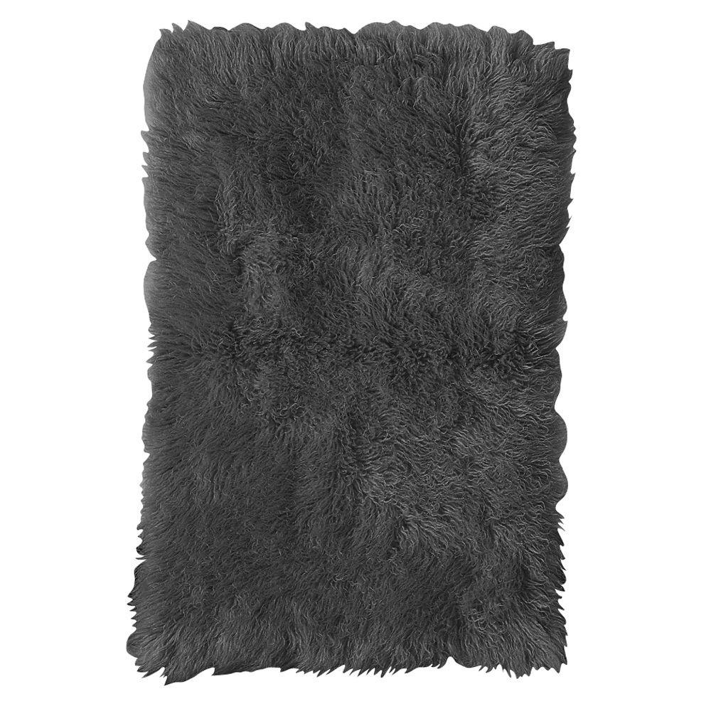 Home Decorators Collection Standard Flokati Black 1 ft. 10 in. x 2 ft. 10 in. Area Rug