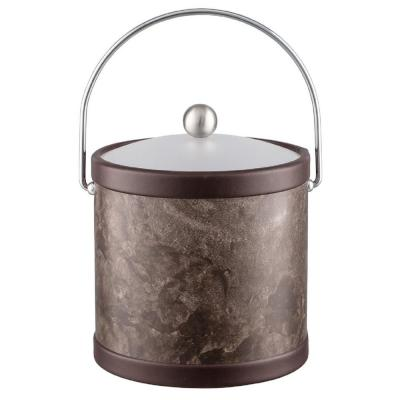 Quarry Tunisia Stone 3 Qt. Ice Bucket with Bale Handle and Acrylic Lid