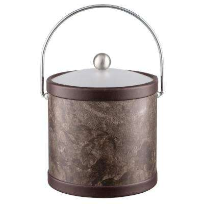 Tunisia Stone 3 Qt. Brown Ice Bucket with Bale Handle and Acrylic Lid