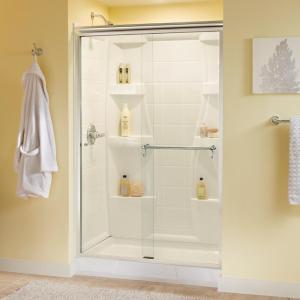 Delta Portman 48 inch x 70 inch Semi-Frameless Sliding Shower Door in Chrome with Clear Glass by Delta