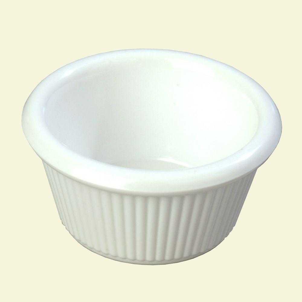 2 oz. Heavy Weight Melamine Fluted Sides Ramekin in White (Case of 48)