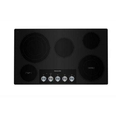 36 in. Radiant Electric Cooktop in Stainless Steel with 5 Elements and Knob Controls