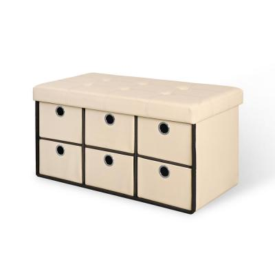 Beige Folding Storage Bench with Drawers