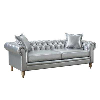 Juliet Silver Contemporary Linen Fabric Upholstered Button Tufted Living Room Chesterfield Sofa