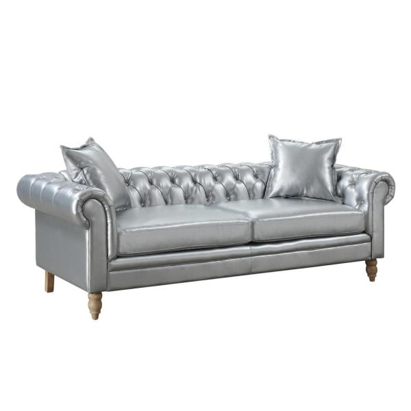 AC Pacific Juliet Silver Contemporary Linen Fabric Upholstered Button Tufted