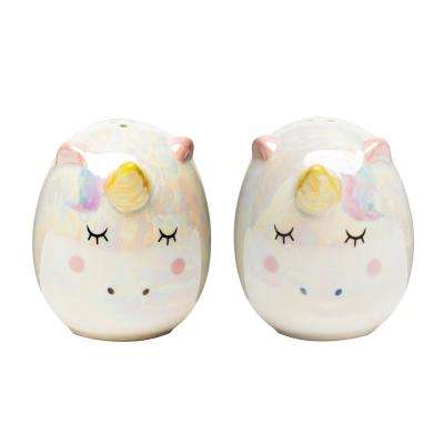 Unicorn 3 oz. Multicolor Ceramic Salt and Pepper Shakers with Figural Shapes