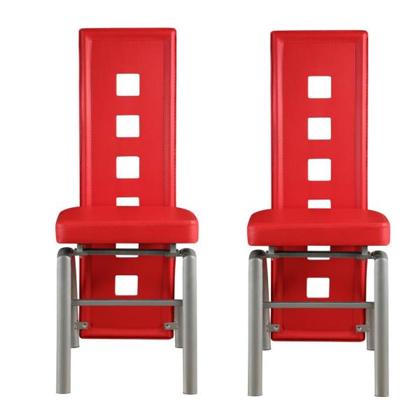 Sensational Coaster Contemporary Red Leatherette Keyhole Back Dining Caraccident5 Cool Chair Designs And Ideas Caraccident5Info