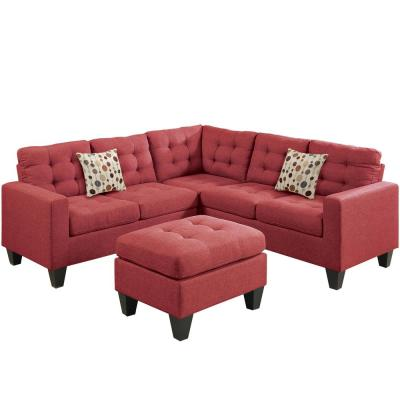 Milan Carmine Fabric 4-Seater L-Shaped Modular Sectional Sofa with Ottoman
