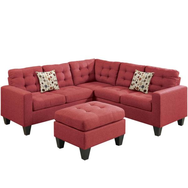 Milan Modular 4-Piece Sectional Sofa in Carmine with Ottoman