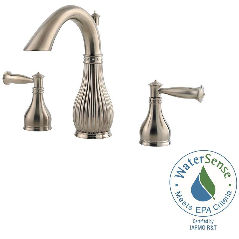 Virtue 8 in. Widespread 2-Handle Bathroom Faucet in Brushed Nickel